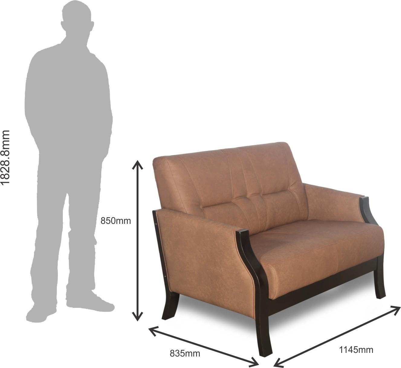 Godrej Interio Milos Leatherette 2 Seater Sofa(Finish Color - Brown)