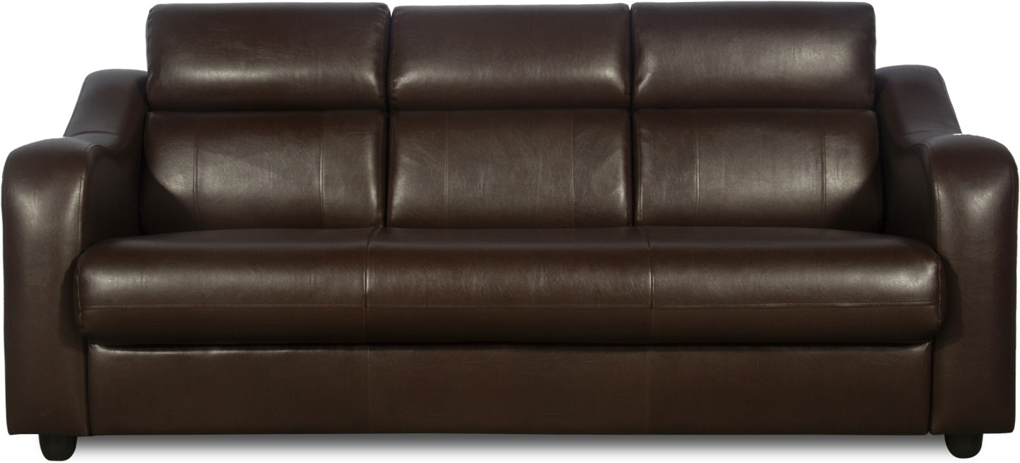 Godrej Interio Elite Leather 3 Seater Sofa Finish Color Brown