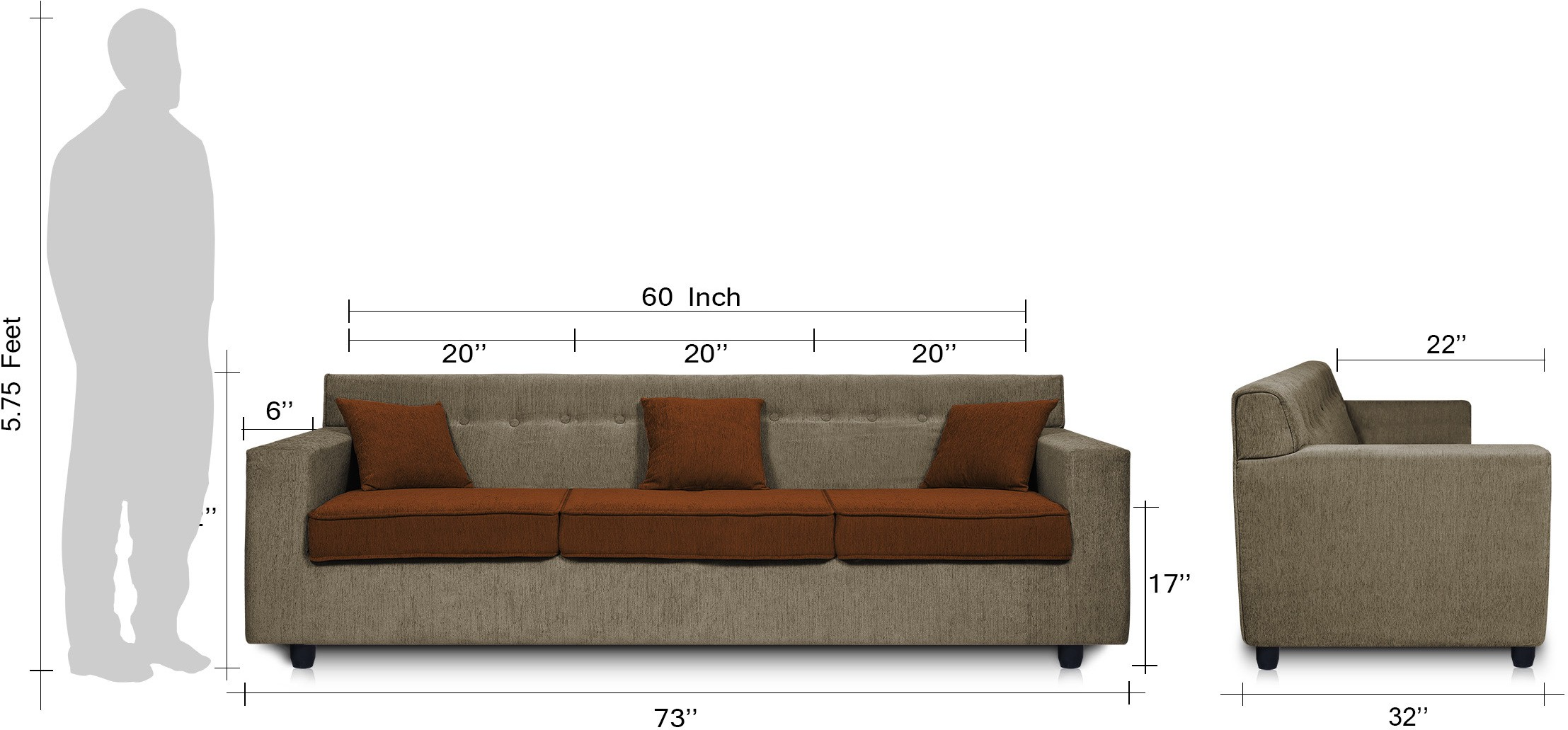 Dolphin Solitaire Solid Wood 3 Seater Sectional