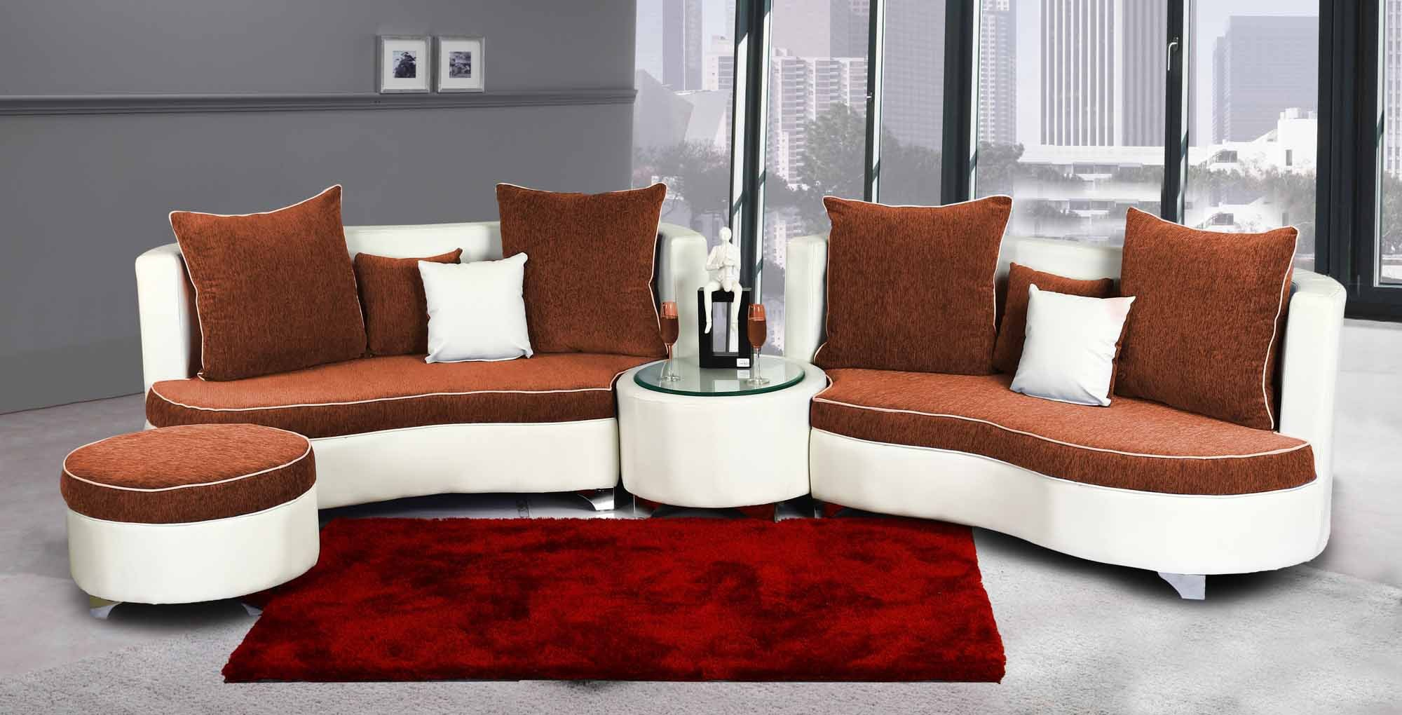 View Home City Leatherette 7 Seater Sectional(Finish Color - White & Russet) Furniture (Home City)