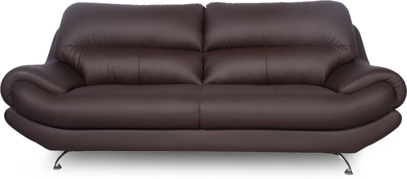 Godrej Interio Euro Pro Leatherette 3 Seater Sofa(Finish Color - Brown)