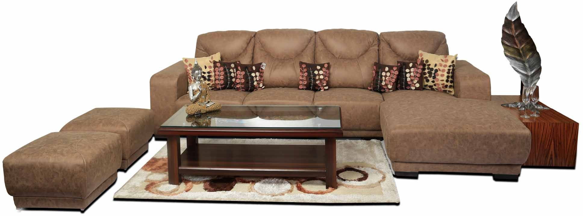 View Home City Fabric 7 Seater Sectional(Finish Color - Brown) Furniture (Home City)