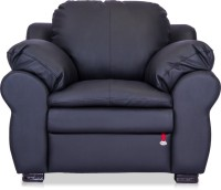 Durian Berry Leatherette 1 Seater Sofa(Finish Color - Eerie Black)