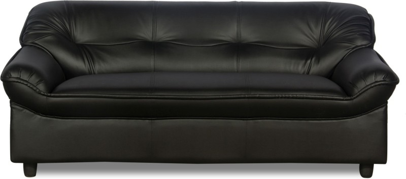 Godrej Interio Micro Plus Leather 3 Seater Sofa(Finish Color - Black)