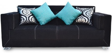 View Furnstyl Maxwell Fabric 3 Seater Sofa(Finish Color - Black) Furniture (Furnstyl)