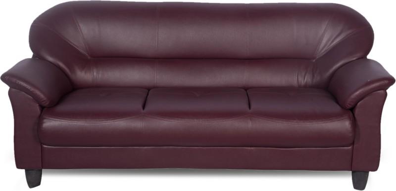 Buy Godrej Interio Jem Leather 3 Seater Sofa Finish Color Burgundy