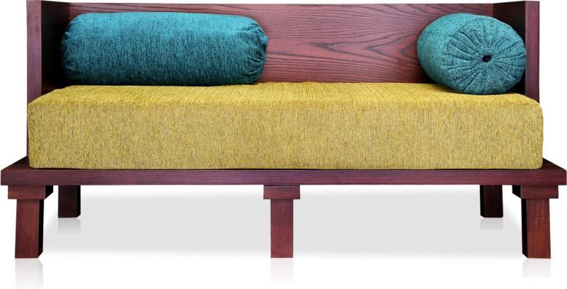 Durian Malacca-Diwan Fabric 2 Seater Sofa(Finish Color - BERYL GREEN/MAHOGANY/TEAL)