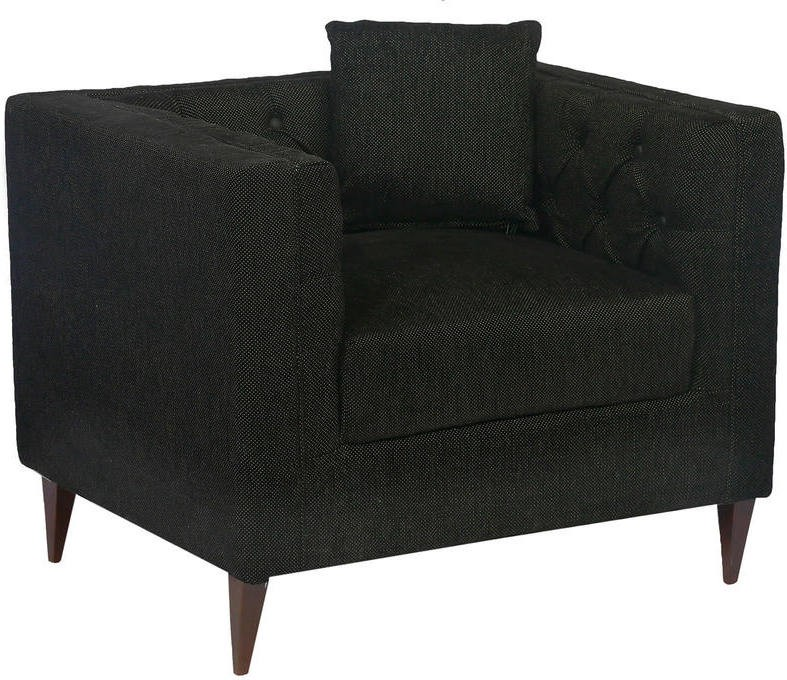 View Homecity Fabric 1 Seater Sofa(Finish Color - Black) Furniture (Home City)