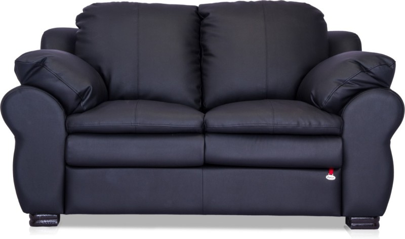 Durian Berry Leatherette 2 Seater Sofa(Finish Color - Eerie Black)