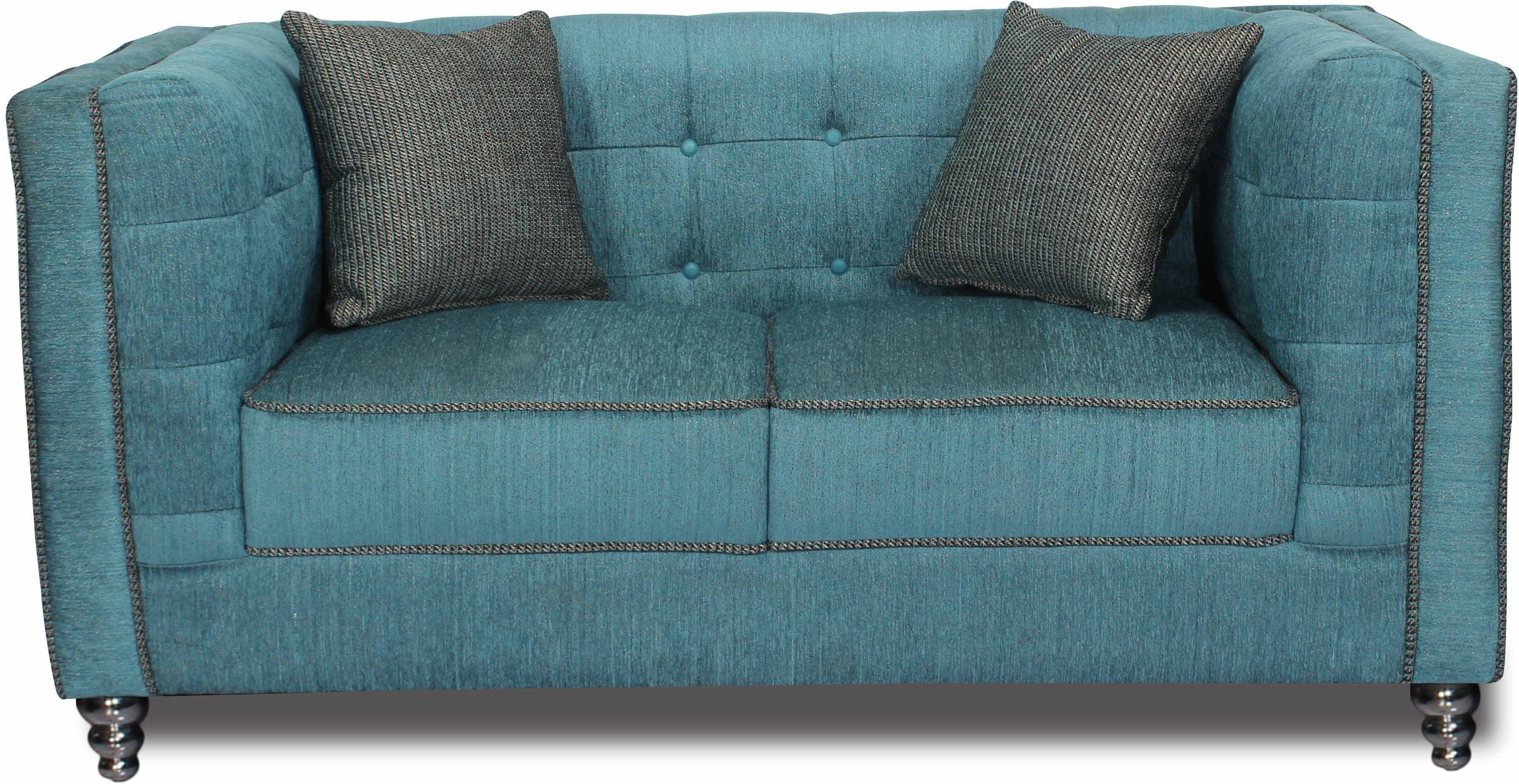 View Homecity Fabric 2 Seater Sofa(Finish Color - Blue) Furniture (Home City)
