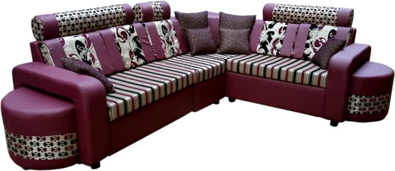 Sethu Furniture Fabric 7 Seater Sofa(Finish Color - Purple)