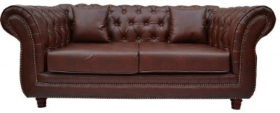 Furnstyl English Chesterfield Leatherette 3 Seater Sofa