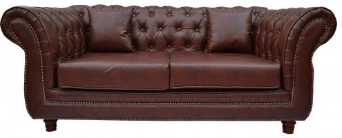 View Furnstyl English Chesterfield Leatherette 2 Seater Sofa(Finish Color - Brown) Furniture (Furnstyl)