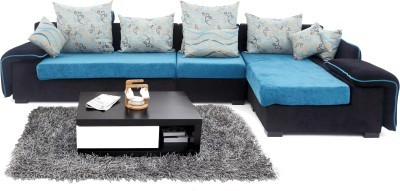 Furnicity Fabric 3 + 1 Blue Sofa Set(Configuration - L-Shaped)