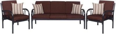FurnitureKraft Metal Sofa Sets with Brown Mattress Metal 3 + 1 + 1 Black Sofa Set(Configuration - Straight)