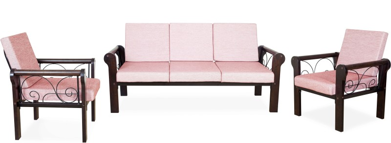 1138ac92ea8 FurnitureKraft Metal Wooden Arm Sofa with Pink Mattress Metal 3 + 1 + 1  Black Sofa