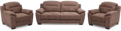 Evok Poland Sofa Set 3 + 1 + 1 Seater in Brown Fabric 3 + 1 + 1 Brown Sofa Set