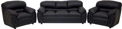 Wood pecker Leatherette 3 + 1 + 1 Black Sofa Set
