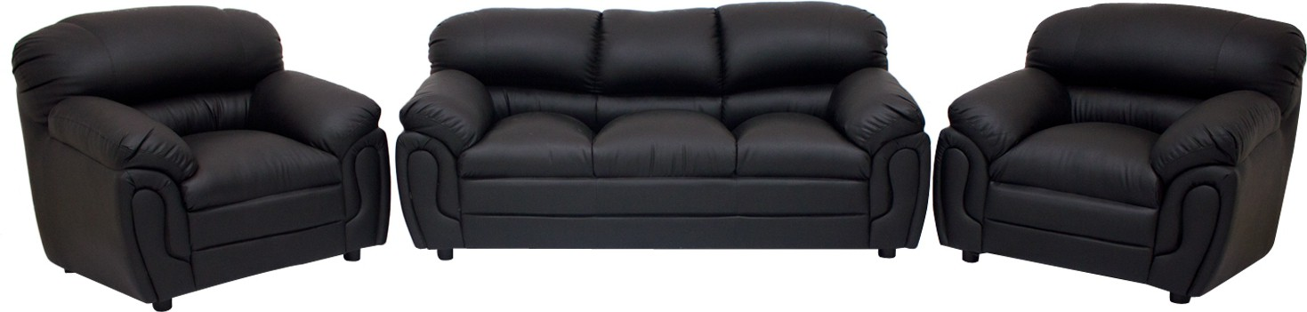 View Wood Pecker Leatherette 3 + 1 + 1 Black Sofa Set(Configuration - Straight) Price Online(Wood Pecker)