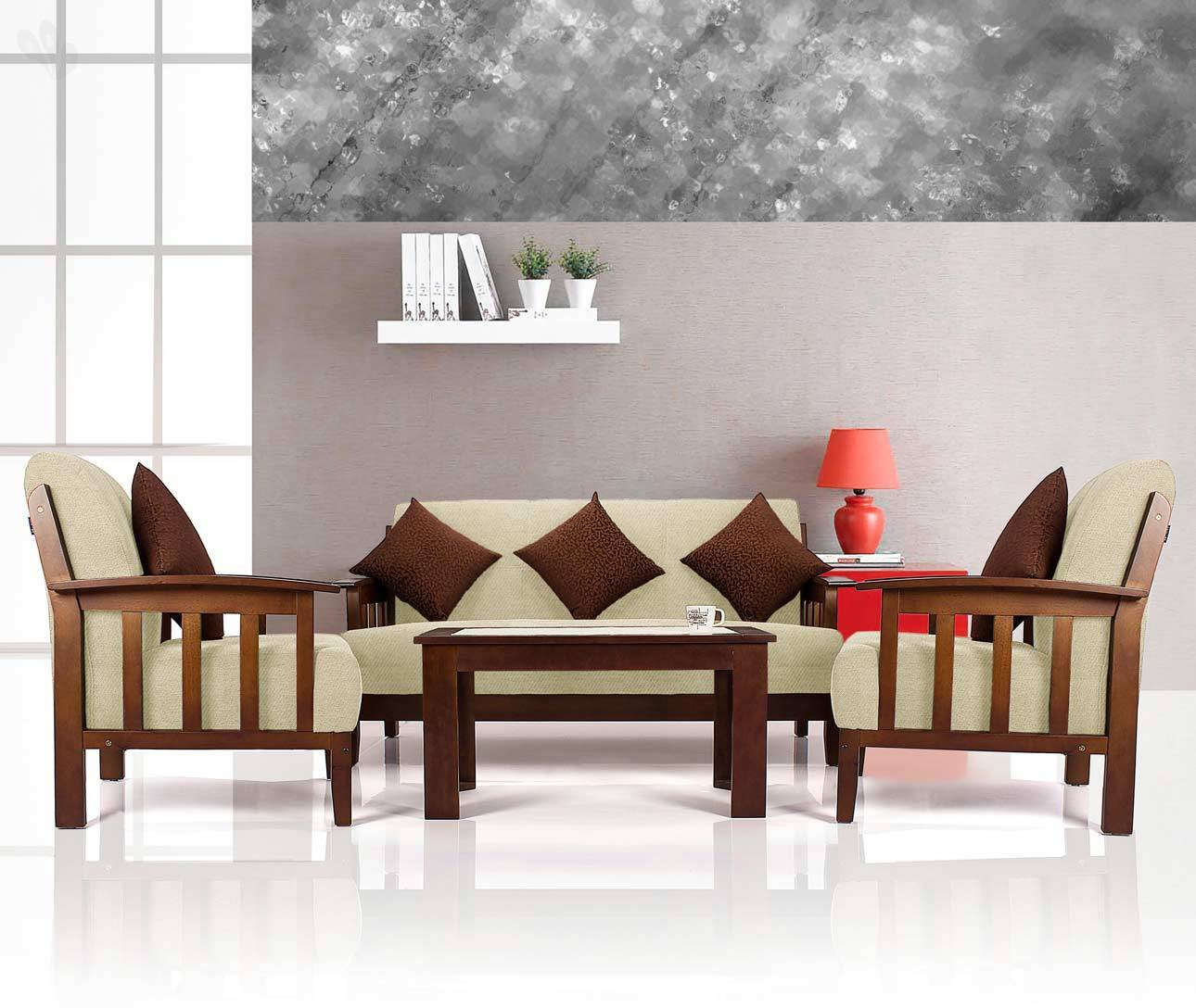 View Vive Dritto Solid Wood 3 + 1 + 1 Sofa Set(Configuration - Straight) Furniture (Vive)
