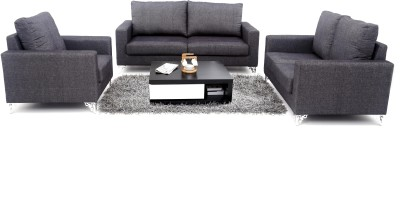 Furnicity Fabric 2 + 2 + 1 Black Sofa Set(Configuration - Straight)