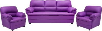 Wood pecker Leatherette 3 + 1 + 1 Purple Sofa Set