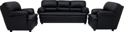 Woodpecker Leatherette 3 + 1 + 1 Black Sofa Set(Configuration - Straight)