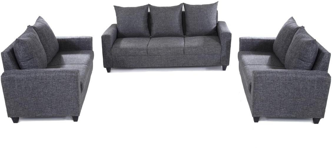 Furnicity Solid Wood 3 + 2 + 2 Grey Sofa Set