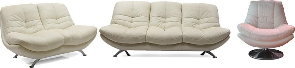 Evok Austin Leatherette 3 + 2 + 1 White Sofa Set class=