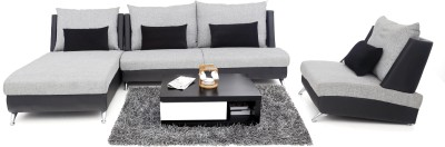 Furnicity Leatherette 3 + 1 + 1 Light Grey Sofa Set(Configuration - L-Shaped)