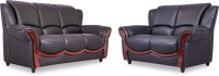Durian BLOS/37930/B Leatherette 3 + 2 Eerie Black Sofa Set(Configuration - Straight)