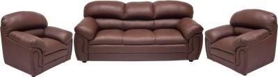 Wood pecker Leatherette 3 + 1 + 1 Brown Sofa Set