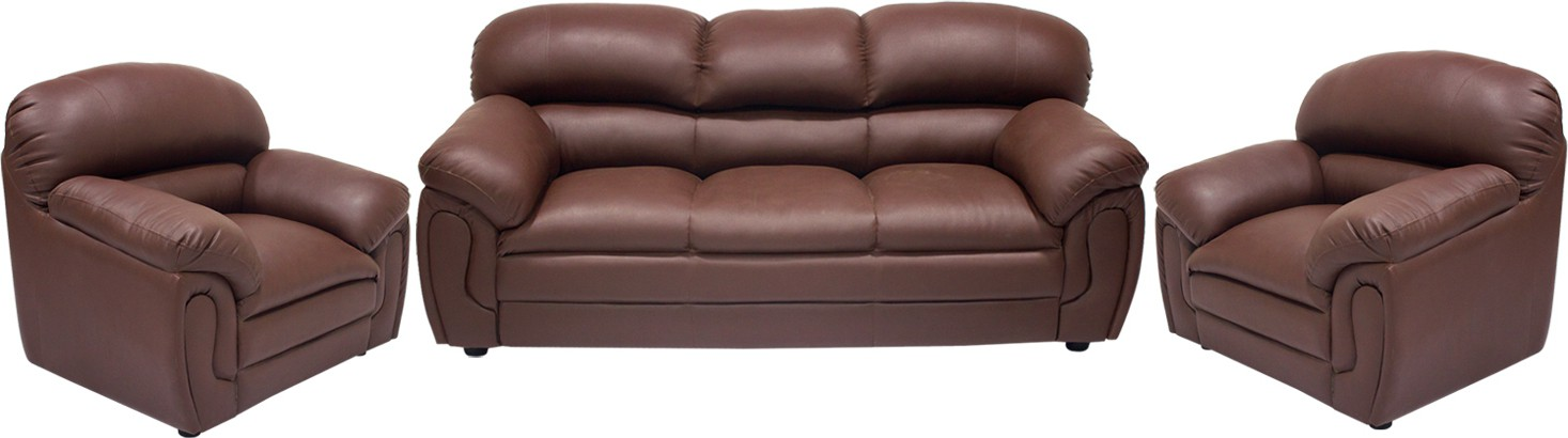View Wood Pecker Leatherette 3 + 1 + 1 Brown Sofa Set(Configuration - U-Shaped) Price Online(Wood Pecker)