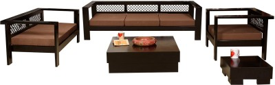 Induscraft Solid Wood 3 + 2 + 1 Brown Sofa Set