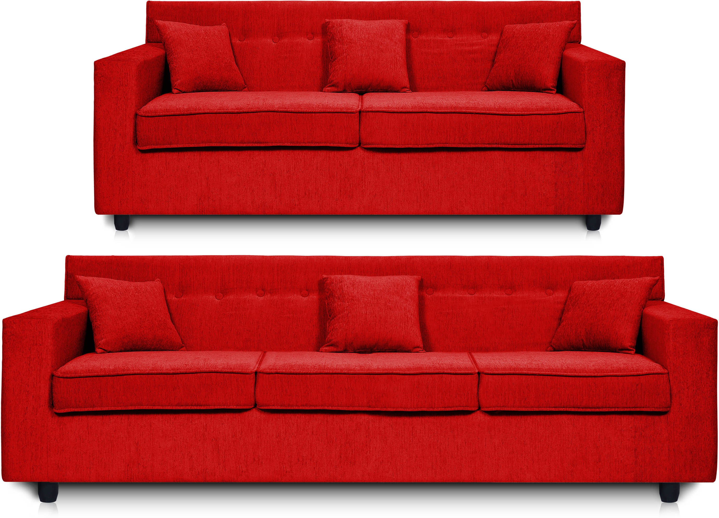Dolphin Solitaire Fabric 3 + 2 Red Sofa Set