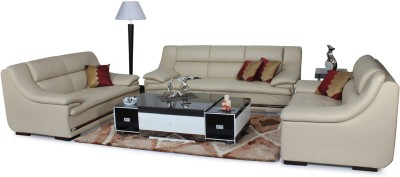 Homecity Leatherette 3 + 2 + 2 Beige Sofa Set(Configuration - Straight)