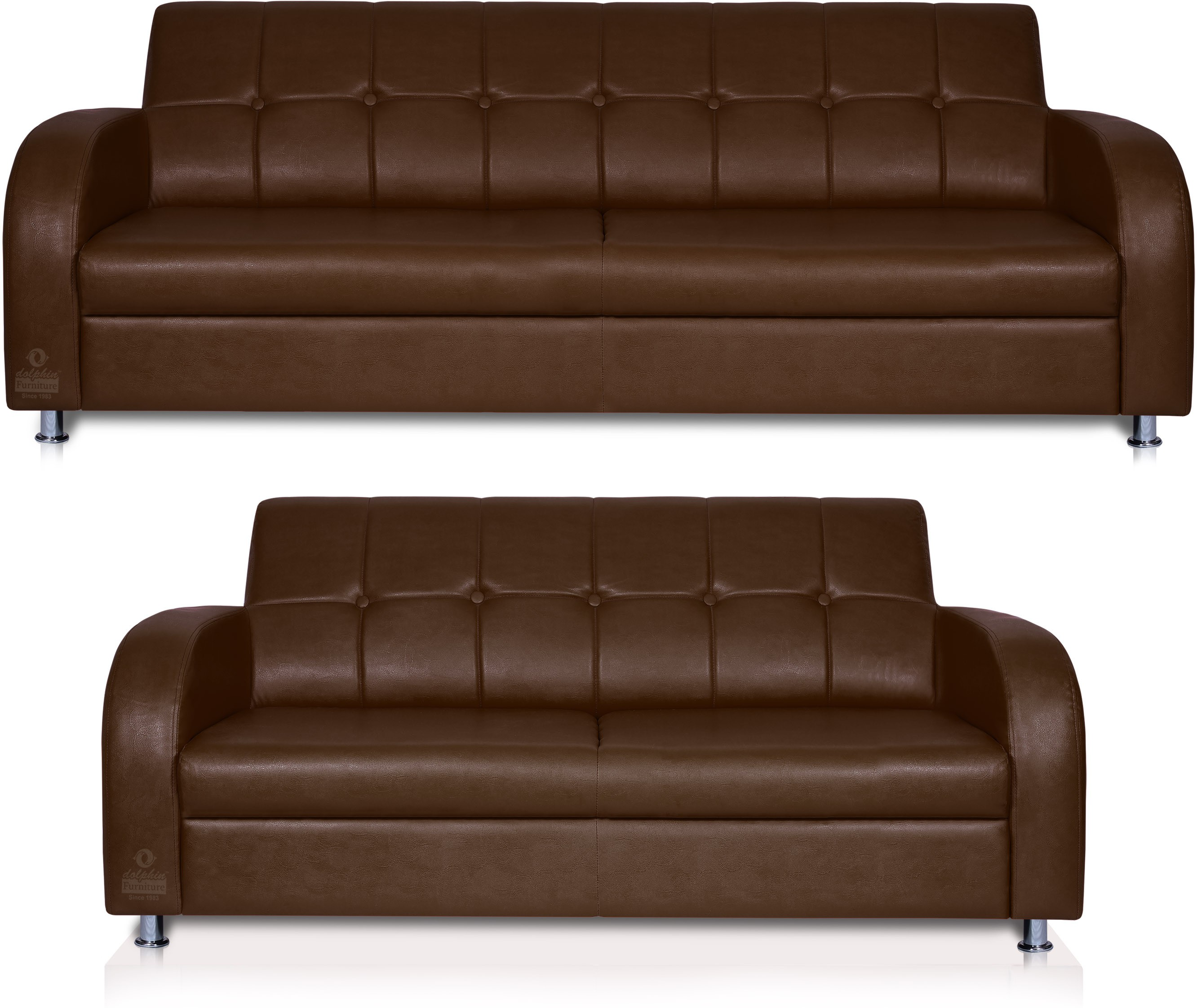 View Dolphin Leatherette 3 + 2 Brown Sofa Set(Configuration - Straight) Furniture (Dolphin)