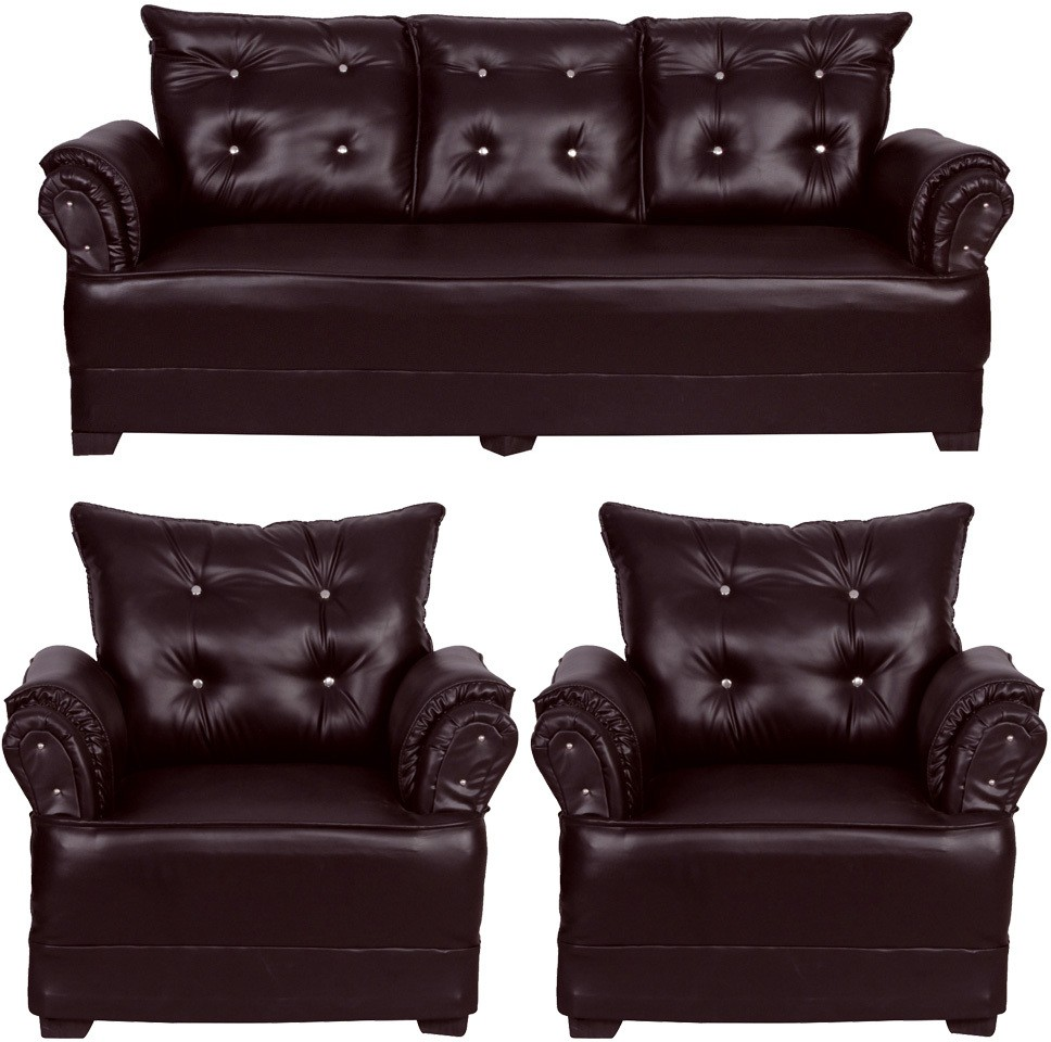 View HOMESTOCK Leatherette 3 + 1 + 1 Brown Sofa Set(Configuration - Straight) Price Online(HOMESTOCK)