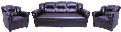 Designo Leatherette 3 + 1 + 1 Brown Sofa Set