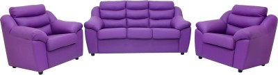 Woodpecker Leatherette 3 + 1 + 1 Purple Sofa Set