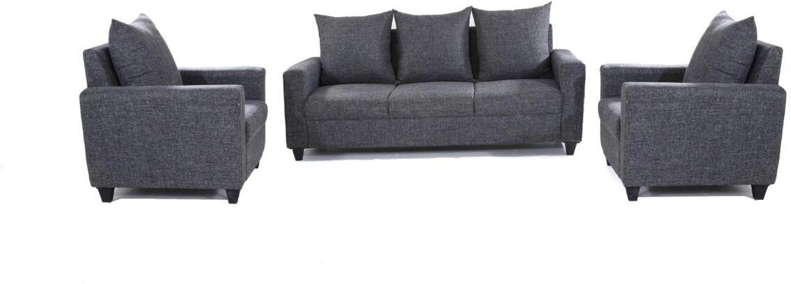 Furnicity Solid Wood 3 + 1 + 1 Grey Sofa Set