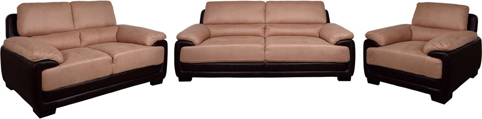 Evok Fabric Elisa Sofa Set 3+2+1 Seater In Dark Brown & Beige Colour Fabric 3 + 2 + 1 Beige Sofa Set class=