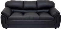 Wood Pecker Leatherette Sectional Black Sofa Set(Configuration - U-Shaped)