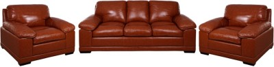 Evok Half Leather Alison Sofa Set 3+1+1 Seater In Caramel Colour Half-leather 3 + 1 + 1 Caramel Sofa Set
