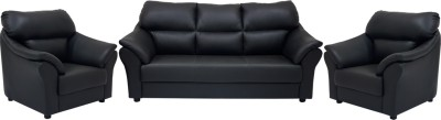 Woodpecker Leatherette 3 + 1 + 1 Black Sofa Set