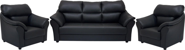 Admirable Woodpecker Leatherette 3 1 1 Black Sofa Set Evergreenethics Interior Chair Design Evergreenethicsorg