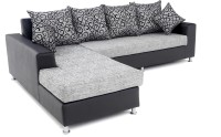 Furnicity Leatherette 3 + 3 Grey Sofa Set(Configuration - L-Shaped)