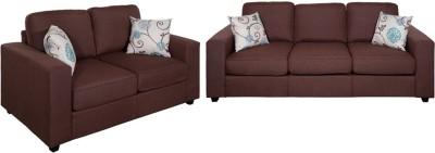 Evok Fabric Fabio Sofa Set 3+2 Seater In Chocolate Colour Fabric 3 + 2 Chocolate Sofa Set