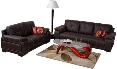 Homecity Leatherette 3 + 2 Brown Sofa Set(Configuration - Straight)