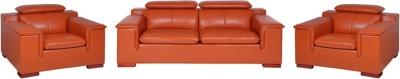 Evok Madrid Sofa Set 3 + 1 + 1 Seater in Brown Leatherette 3 + 1 + 1 Cherry Sofa Set